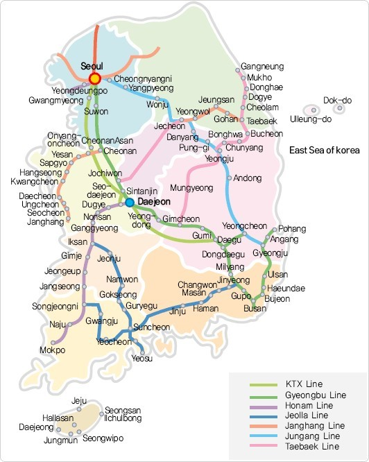 Korea Rail Pass Map