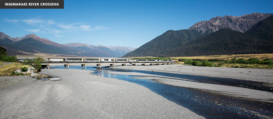 New Zealand TranzAlpine Waimaraki River Crossing