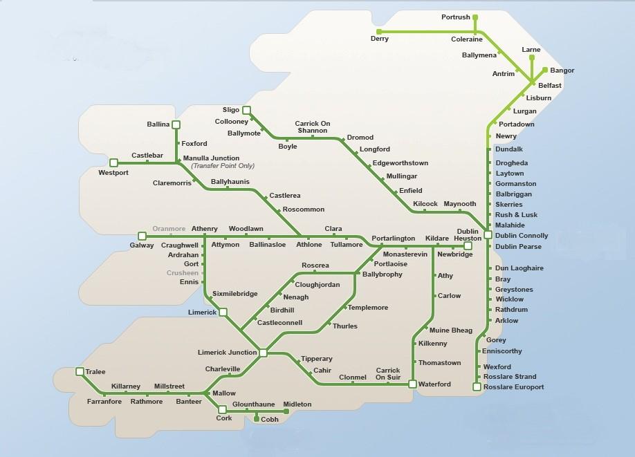Railway Map of Ireland