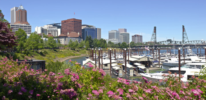 Portland Oregon skyline downtown buildings and marina.