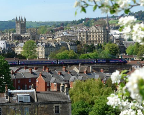 Train travelling through Bath